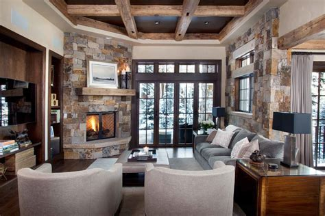 corner fireplace mantels Family Room Rustic with area rug