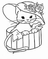 Coloring Cat Hat Printable Cats Colouring Sheets Sheet Kitty Kitten Printables Animals Animal sketch template