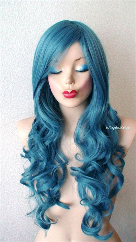 teal blue long curly wig mermaid blue wig pastel wig