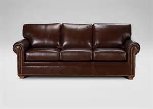 conor leather sofa omni brown ethan allen
