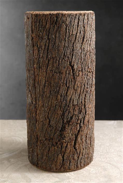 natural bark covered  cylinder glass timber vases