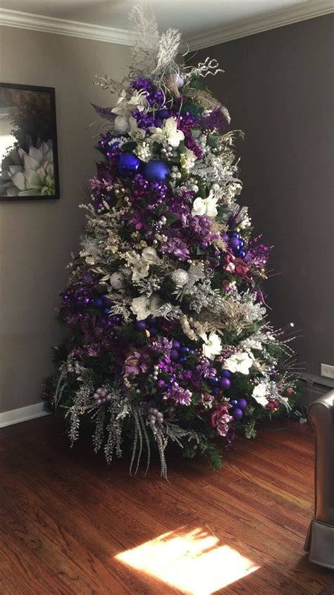 christmas tree purple  silver purple christmas tree