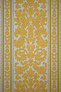 Baroque Stripes Wallpaper In Yellow Color