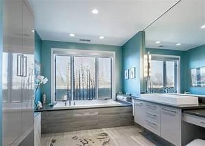peinture salle de bains 24 idees de murs en deux couleurs With salle de bain gris bleu