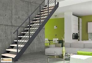 Escalier Metal Et Bois : escalier droit en m tal et bois r glable rampe greenwich ~ Dailycaller-alerts.com Idées de Décoration