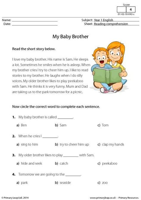 Primaryleapcouk  Reading Comprehension  My Baby Brother Worksheet  English Printable
