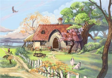 anime cottage  anime background wallpapers