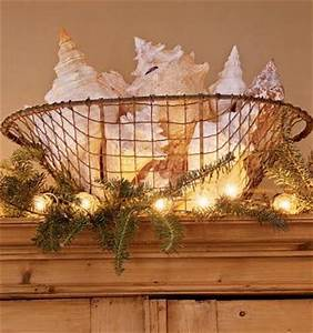 big conch shells in wire basket surrounded by Christmas
