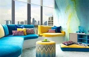 Coussin Bleu Et Jaune : d co bleu et jaune un must tendance ~ Teatrodelosmanantiales.com Idées de Décoration