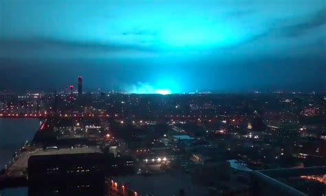 york city sky turns neon blue  explosion  power