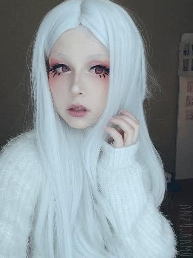 cosplay wig medium silvery white wig uniqso