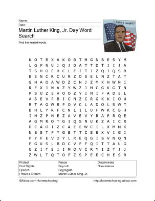 martin luther king jr worksheets word search 8 printout activities for martin luther king day king jr
