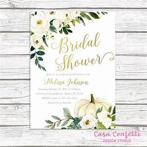 fall bridal shower invitation pumpkin bridal shower With gold pumpkin wedding invitations