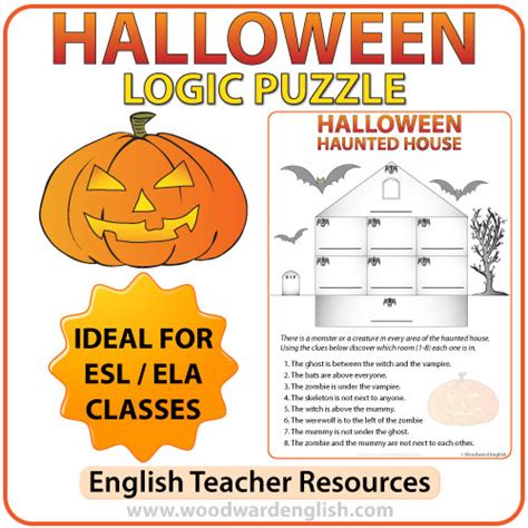Free Halloween Brain Teasers Printable by Halloween Logic Puzzle In English Woodward English