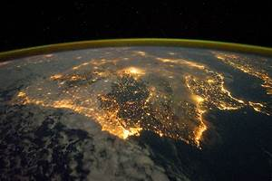 Iberian Peninsula at night seen from International Space ...