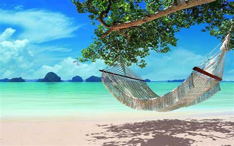 Water Hammock Blue Intl relaxing hammock on the beautiful blue water wallpaper