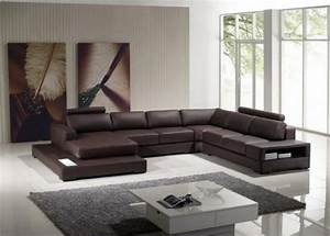 Tosh furniture ultra modern espresso full leather for Ultra modern leather sectional sofa set
