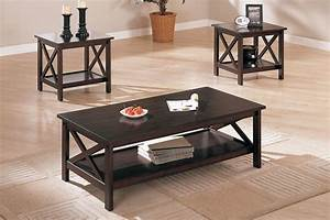 3 pcs table set x design accents dark brown coffee end for Dark brown coffee table set
