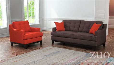 chicago burnt orange charcoal living room set from zuo
