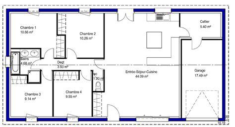 plan maison plain pied 100m2 3 chambres contemporaine maisons lara