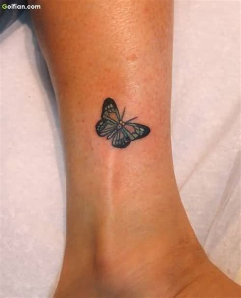 lovely ankle butterfly tattoos designs small