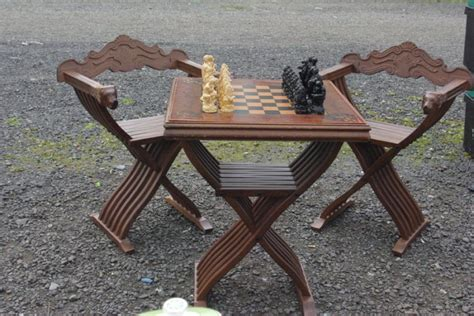 savonarola chairs and chess board for sale in whitehall