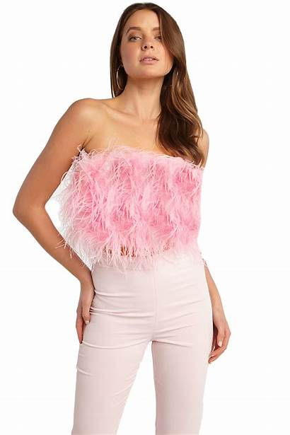 Feather Bardot Bustier Pink Tops Clothing Bcgz