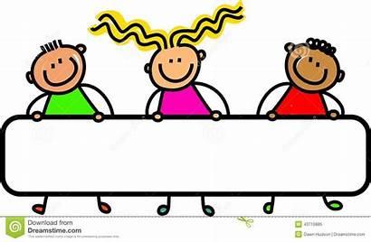 Banner Happy Illustration Cartoon Holding Children Title