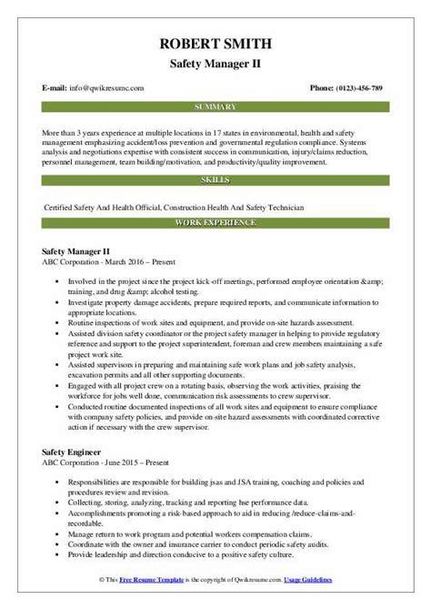 Safety Manager Resume by Safety Manager Resume Sles Qwikresume