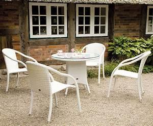 Polyrattan Stuhl Weiß : zebra tisch 110 rund mary esstisch polyrattan in2farb art jardin ~ Indierocktalk.com Haus und Dekorationen