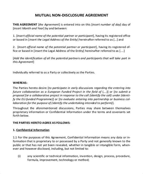 disclosure agreement template   word