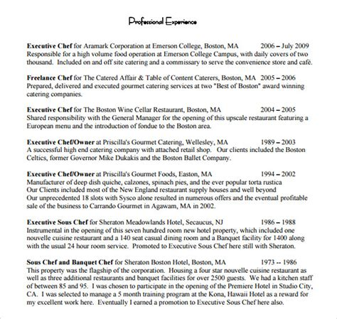 chef resume 8 free sles exles format