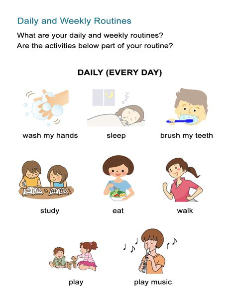 daily routines worksheet present verb tense all esl