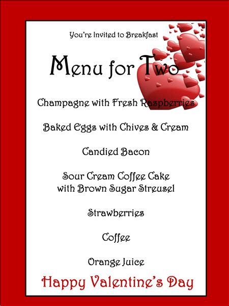 menu template  valentines day templates happy