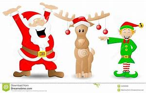 Santa Claus Reindeer And Christmas Elf On White Stock