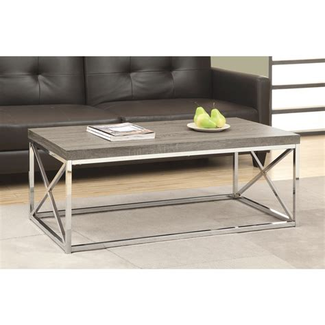 chrome and wood coffee table monarch specialties i 3258 dark taupe reclaimed wood look