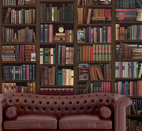 Wallpaper Bookcase Design by Bookcase Self Adhesive Wall Mural By Oakdene Designs