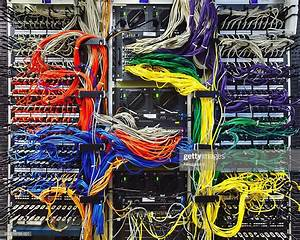 Colorful Computer Wires In Server Room High