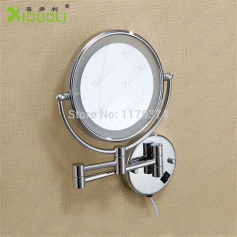 Magnifying Bathroom Wall Mirror by Led Faced Retractable Bathroom Mirror With Light