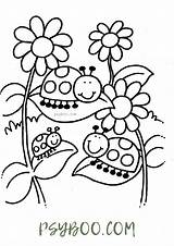 Ladybugs Flowers Coloring sketch template