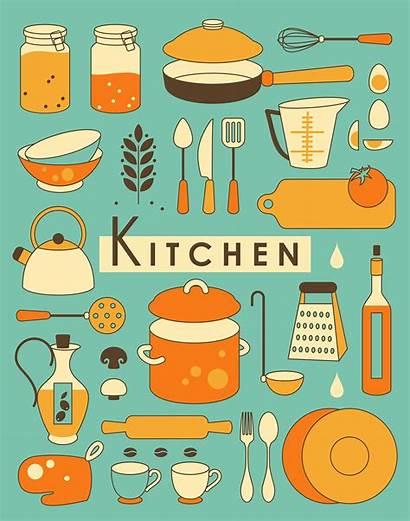 Kitchen Illustrations Illustration Vector Utensil Retro Behance