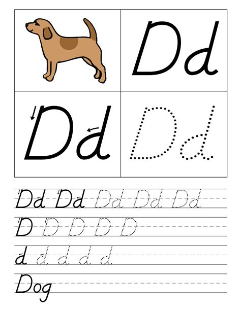 letter d worksheets kindergarten trace the letter d