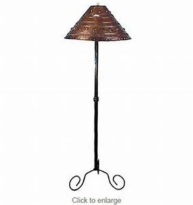 iron gatling floor lamp with punched tin marble shade With iron floor lamp with punched tin shade