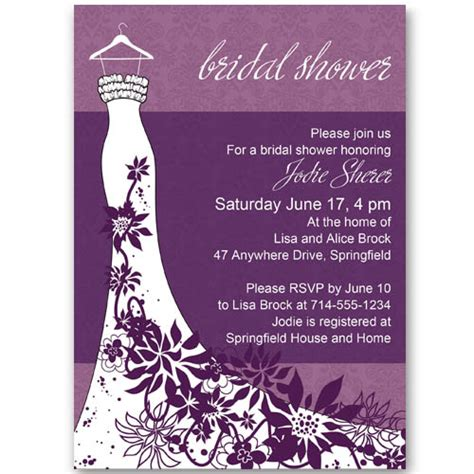 wedding shower invitations classic purple floral wedding dress bridal shower invitations ewbs056 as low as 0 94