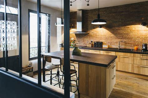photos de belles cuisines modernes cuisine brique bois