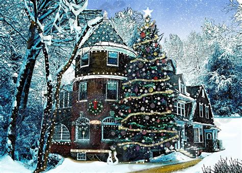 christmas house scenes house snow decoration print