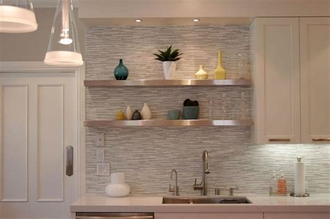 chic neutral kitchen design idea flaunting stylish backsplash tile and two tiers stainless steel