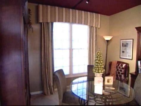 fabric covered cornice  lined window panels hgtv