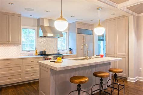 gray kitchen  backless wood  iron stools transitional kitchen