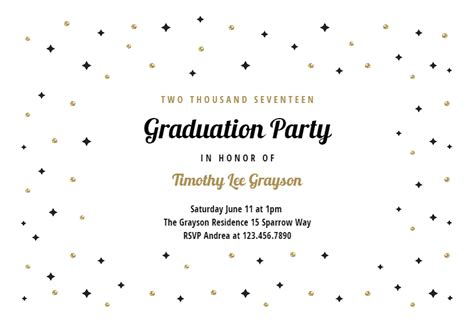 sparks stars graduation party invitation template